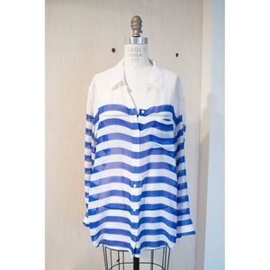 Striped Longline Silk Blouse by Equipment